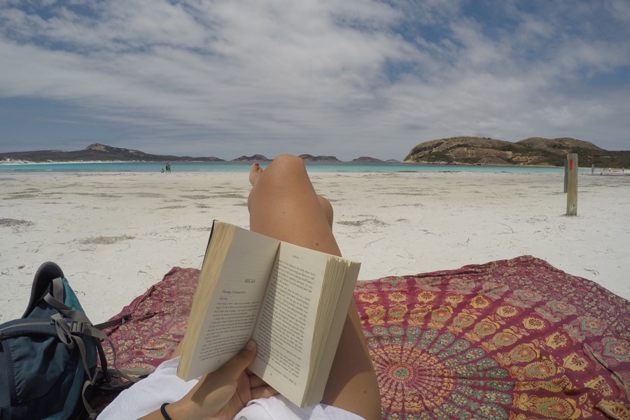 Reading at the beach in Cape Le Grand National Park.